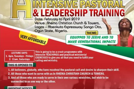 A 3 Months  Special Intensive Pastoral & Leadership Training